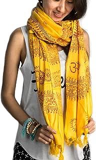 Large Om Scarf Wrap Yoga Soft Cotton Hand Printed Boho Bohemian White Black Yellow