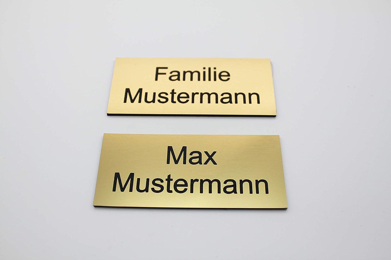 Namensschild Name eckig 8x3,5cm Gr/ö/ßen: 6x2 cm graviert B/üro Kunststoff gestalten Gro/ß T/ürschild mit Gravur Gold Gravur selbstklebend 6x2cm