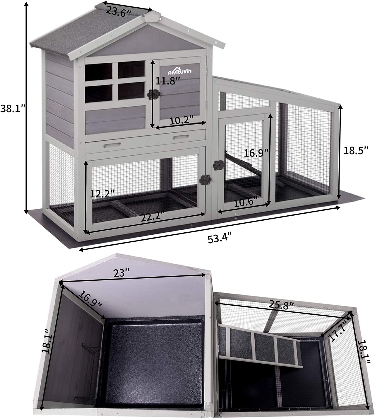 15+ Aivituvin Rabbit Hutch Indoor and Outdoor,Rabbit cage with Deeper No  LeakageTray, Bunny Cage with Removable Bottom Wire Mesh & PVC Layer,  Upgrade ... Fotografie