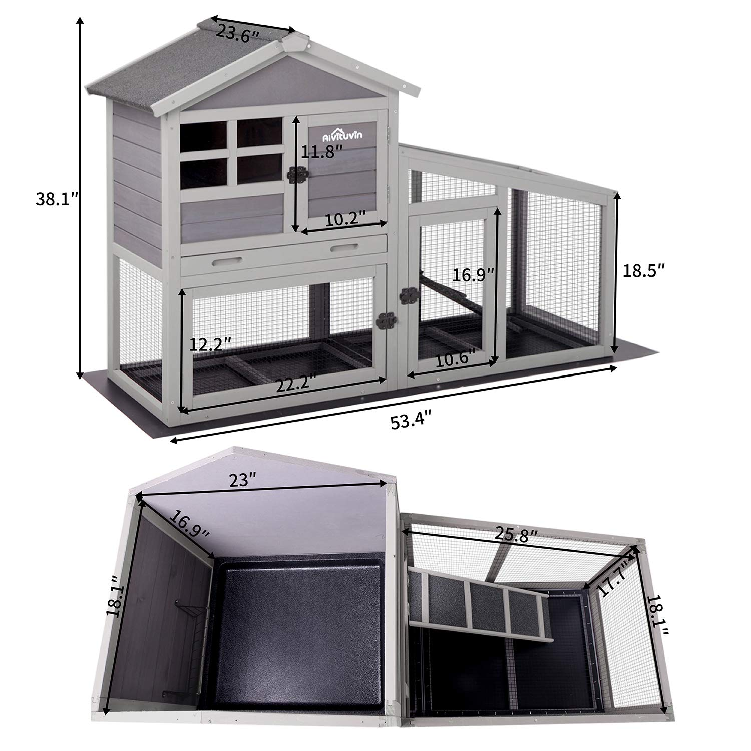 Buy Aivituvin Rabbit Hutch Indoor and Outdoor,Bunny Cage with ...