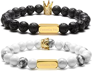Personalized Custom Couples Lover His Queen Her King Bracelets Name Words Engraving 8MM Natural Lava Rock White Turquoise Stone Beads Stretch Bracelet