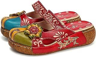 Women's Colorful Leather Slipper Backless Slip Ons Vintage Handmade Flower Boho Platform Flat Sandals Mule Clogs Shoes
