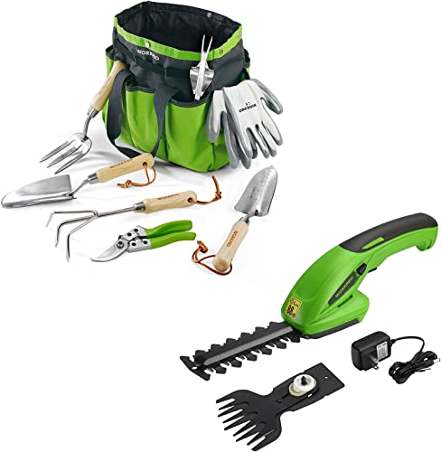 WORKPRO 7.2V 2-in-1 Cordless Grass Shear + Shrubbery Trimmer Rechargeable Lithium-Ion Battery and Charger Included & 7 Piece Garden Tools Set, Stainless Steel Gardening Tools with Wooden Handle