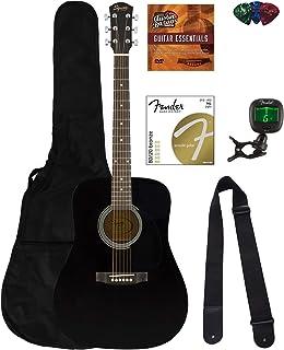 گیتار صوتی Fender Squier Dreadnought Acoustic - بسته نرم افزاری مشکی با Fender Play Online درس ، Gig Bag ، تیونر ، رشته ها ، بند ، بند و پیک و DVD آموزش های Austin Bazaar