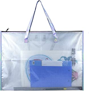 BUSOHA Large Clear Mesh Vinyl Bag with Handle and Zipper/Waterproof Art Storage Bag for Artworks, Drawing Pads Supplies, Charts and Teaching Material Multipurpose -19 x 25 Inch
