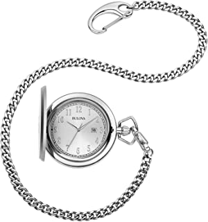 Bulova Mens Stainless Steel Analog-Quartz Pocket Watch (Model: 96B270