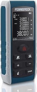 Ferrestock FSKLDM070 medidor Distancia Laser hasta 70 Metros, Pantalla LCD, 2 Puntos de Referencia, 7 Modos de medición, Nivel Digital y 99 memorias