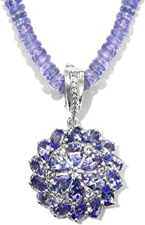 Tanzanite Natural White Zirconia Pendant With Beads Necklace 20