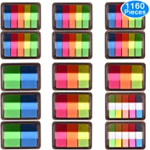 AUSTOR 1160 Pieces Page Marker Pop-up Page Flags Neon Index Tabs Sticky Notes Tabs with Box, 15 Sets 4 Sizes