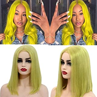 Short Bob Wigs Lace Front Human Hair Pre Plucked Full End 150% Density Straight Bob Wigs Bleached Knots Colorful Lemon Green Pre Plucked Lace Frontal Wig 10 Inch