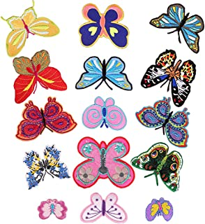 Cute Butterfly Iron on Patches 14 Pcs Colorful Embroidered Decorative Butterflies Applique Badge Patch for Repairing Girls Clothes Holes Hats Jackets Bags Vests Jeans Garment Decorations Accessories