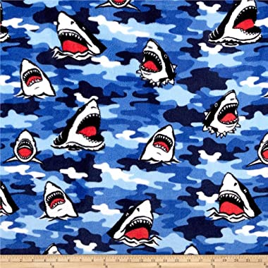 Newcastle Fabrics Whisper Fleece Shark Camo Blue Fabric Fabric by the Yard