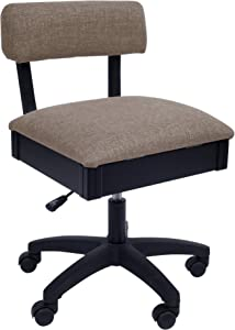 Arrow H8140 Adjustable Height Hydraulic Sewing and Craft Chair with Under Seat Storage and Solid Fabric, Princess Hazel Tan Fabric