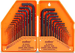 """HORUSDY Hex Key Set, Allen Wrench Set Inch/Metric 30-Piece MM(0.7mm-10mm) SAE(0.028""""-3/8) - Best Unique Tool Gift for Men"""