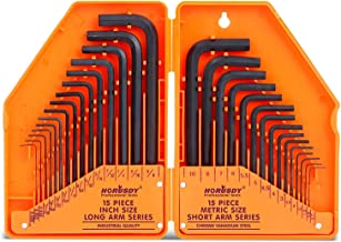 HORUSDY Hex Key Set, Allen Wrench Set Inch/Metric 30-Piece MM(0.7mm-10mm) SAE(0.028