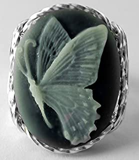 .925 Sterling Silver Butterfly Cameo Large Ring grey Jewelry
