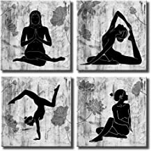 KLVOS Abstract Yoga Wall Art Canvas Prints 4 Panels Black and White Zen Painting Picture with Lotus Flower Modern Wall Decor Framed for Home Wall Decoration 12
