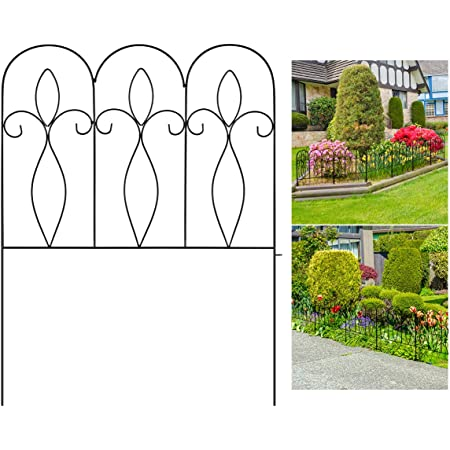 garden mile/® Set of 4 Decorative Garden Fencing 600mm x 330mm Victorian Scroll Style White Plastic Fence Grass Lawn Flower Bed and Patio Border Edging Stylish Decorative Garden Decoration
