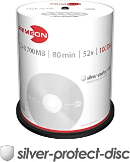 PRIMEON CD-R 80Min/700MB/52x Cakebox (100 Disc), 2761103 ((100 Disc) Silver-Protect-disc Surface)