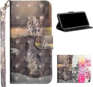 HMOON Wallet Case for Galaxy A2 Core, 3D Effect Cat And Tiger Pattern PU Leather Flip Cover [Magnetic Closure][Card Slots]...