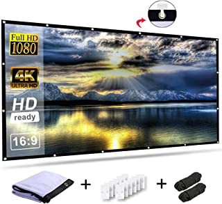 RELEE Projector Screen 100 Inch 16:9 HD Foldable Anti-Crease Portable Outdoor Indoor Projector Movies Screen Wall Mount for Home Theater Support Double Sided