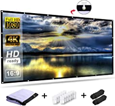 RELEE Projector Screen 100 Inch 16:9 HD Foldable Outdoor Indoor Portable Projector Movies Screen for Home Theater Support Double Sided Projection