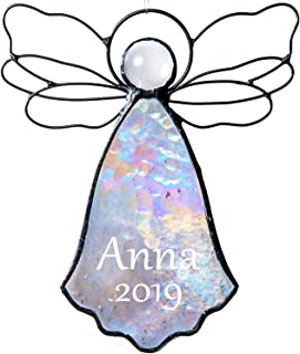 Personalized Angel Ornament Baby's First Christmas 2019 Clear Iridescent Stained Glass Window Sun Catcher Tree Decoration Engraved Memorial Remembrance Gift J Devlin ORN 303 EO120 (Clear Iridescent)