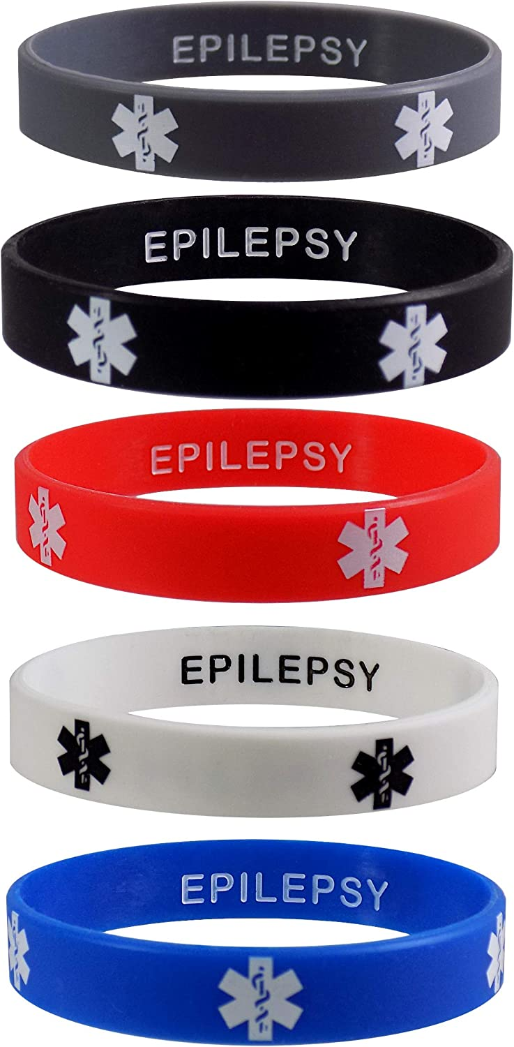 EPILEPSY Medical Alert Purchase ID Privacy Bracelets Wr Silicone Department store Enhanced