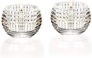 Baccarat Crystal Eye Votive Candle Holder Set of 2 Clear