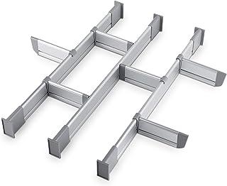 Separadores Ajustables de Cajones de Cocina, Elegante Organizador Modular de Aluminio, Juego de 9 Separadores (Mediano | para Cajones 44,5 cm - 50 cm de largo) de Practical Comfort