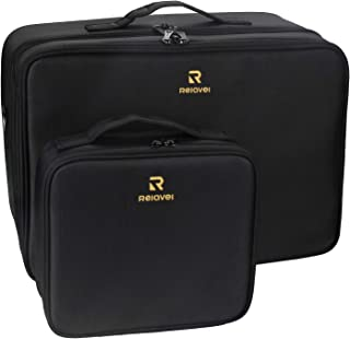 Relavel Makeup Case Train Case Makeup Bag Cosmetic Makeup Brush Organizer Makeup Artist Box 2 Pack Large and Small Size wi...
