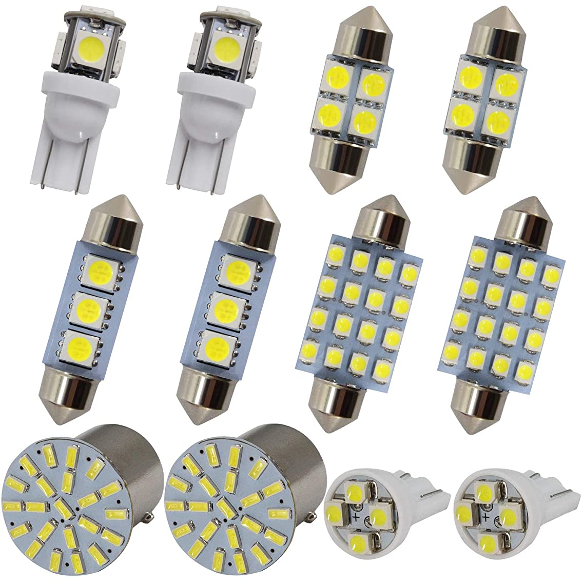 Festoon LED Bulbs+T10 W5W Wedge LED Bulbs+BAY15D 1157 LED Bulbs Combination 12 pcs Usually Used For Side light Position lamp License plate lamp Car interior lamp Wedge Light Tail lights
