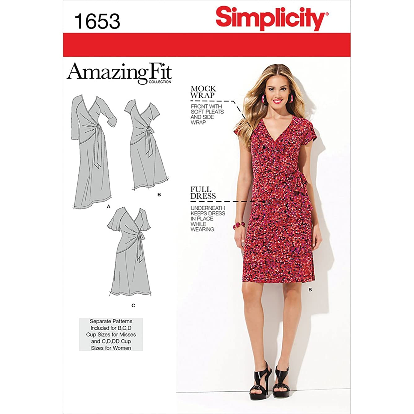 Simplicity Amazing Fit Pattern 1653 Womens Knit Dress with Variations Sizes 20W-28W
