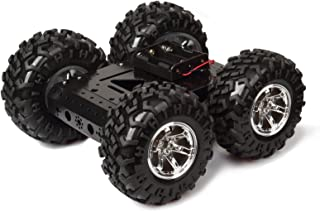 MOUNTAIN_ARK High Power 4WD Smart Car Chassis Kit – Iron Chassis + 4pcs DC 12V Motors + Non Inflatable Rubber tire for Arduino Raspberry Pi DIY Obstacle Avoidance Smart Car 10.6x10.6x4.7inch