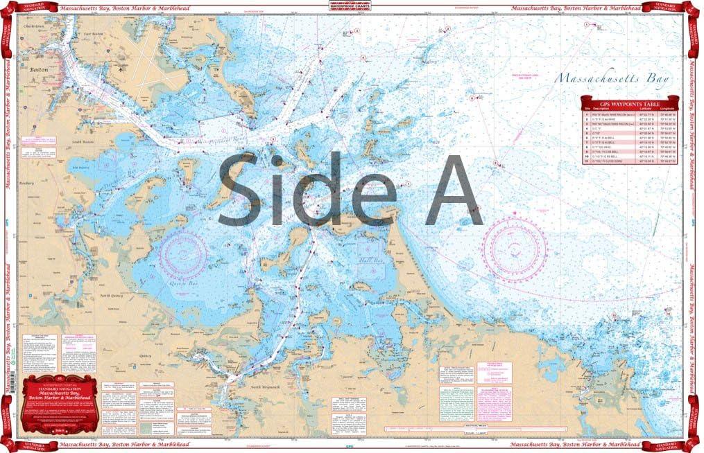 Waterproof Charts, Standard Navigation, 65 Massachusettes Bay, Boston Harbor, and Marblehead
