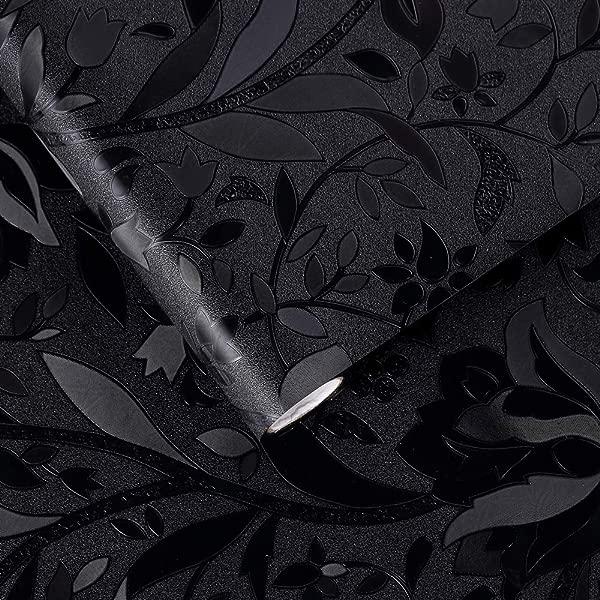 VELIMAX 遮光窗膜去除静电贴窗帘黑色车窗贴玻璃罩变暗房间散热开花图案 35 4X78 7