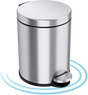 iTouchless SoftStep 1.3 Gallon Slim Bathroom Trash Can with Odor Filter & Removable Inner Bucket, Stainless Steel, 5 Liter...