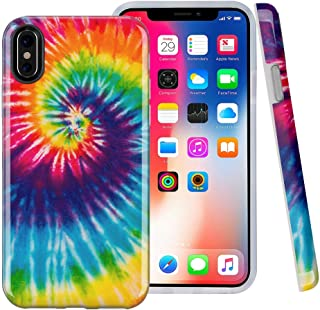 iPhone X case, iPhone Xs Case, Peace Tie Dye Swirl, CASESOCIETY Slim Flexible Soft Silicone Bumper Shockproof Gel TPU Rubber Glossy Skin Cover Case for Apple iPhone X & XS
