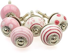 Möbelknopp möbelknopp möbelhandtag uppsättning av 6 KLEIN 087GN_SM prickar cirklar prickar vit rosa – jay knapp keramik po...