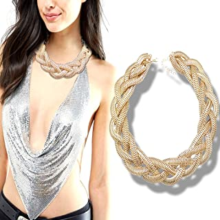 QQ Fashion Vintage Gold Egyptian Cleopatra Style Bold Snake Braided Chain Statement Bib Necklace,19.7