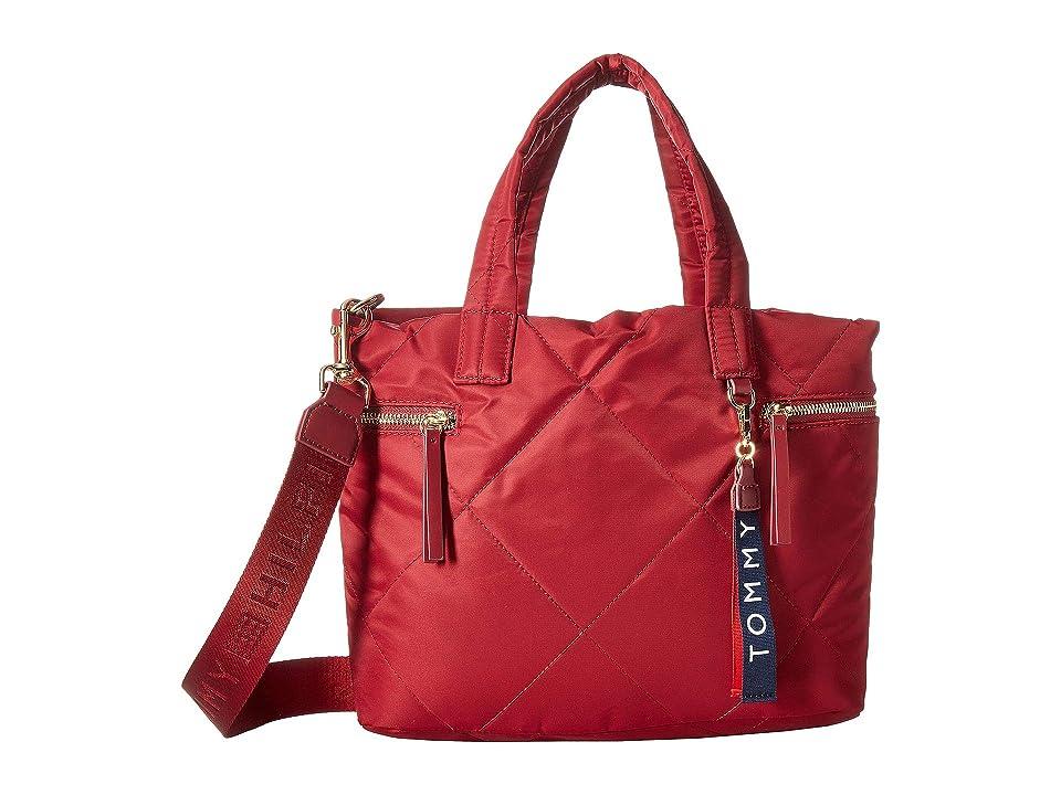 Tommy Hilfiger Kensington Shopper Quilted Nylon (Rhubarb) Tote Handbags