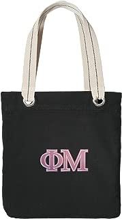 Phi Mu Tote Bag RICH COTTON CANVAS Phi Mu Sorority Bags Black