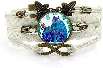 N/A Heren en vrouwen accessoires Blauwe Uil Tijd Edelsteen Armband Multilayer Handgeweven Glas Combinatie Armband Bruiloft...