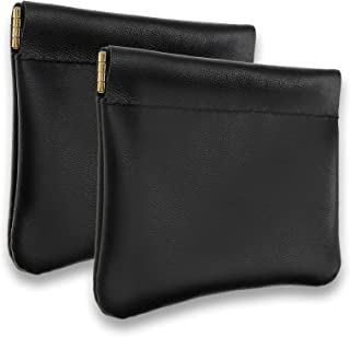 VOFOON 2 Pack Genuine Leather Coin Purse Small Change Holder For Woman/man