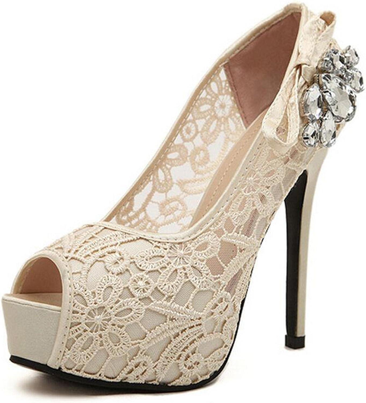 Willie Marlow Women Pumps Lace Rhinestone Mesh Hollow Open Toe High Heels Nude Wedding Platform shoes