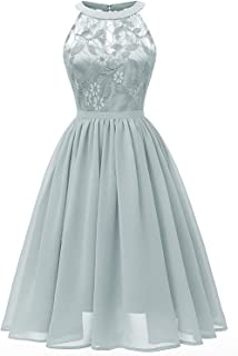 Women's Halter Midi Lace Dress Swing A line Chiffon Party Wear