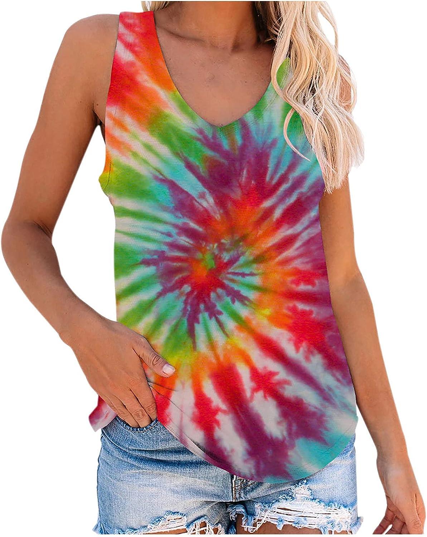 Oxodoi Women Basic Tie Dye Tank Top Fun Bright Colorful Tee Summer Sleeveless Yoga Workout Vest Loose Casual T-Shirt