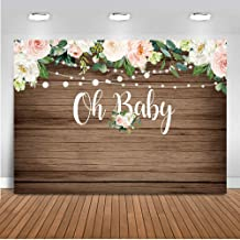 Mocsicka Rustic Wood Baby Shower Backdrop 7x5ft Oh Baby Floral Baby Shower Photo Backdrops Brown Wood Light Flower Baby Shower Photography Background