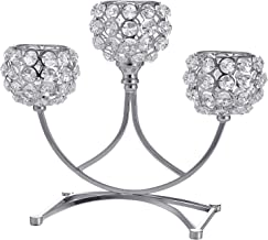 Flameer Silver Crystal Candle Holders, 3 Arms Candelabra Wedding Candelabrum Dinning Table Home Livingroom Decor Candlesti...