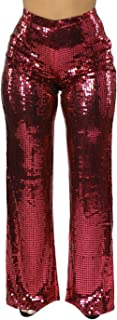 Women's Glitter Sequin High Waist Long Wide Leg Palazzo Pants Trousers